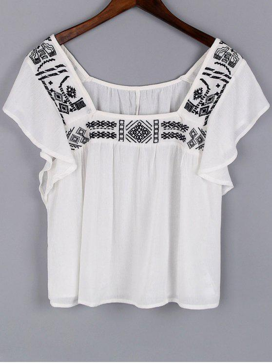 affordable Embroidery Square Neck Short Sleeve Blouse - WHITE S