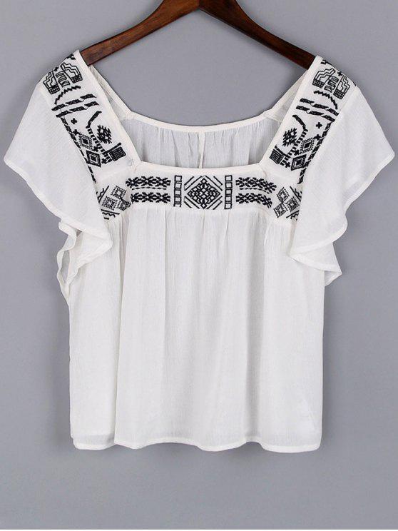 Praça do bordado do pescoço manga curta Blusa - Branco L