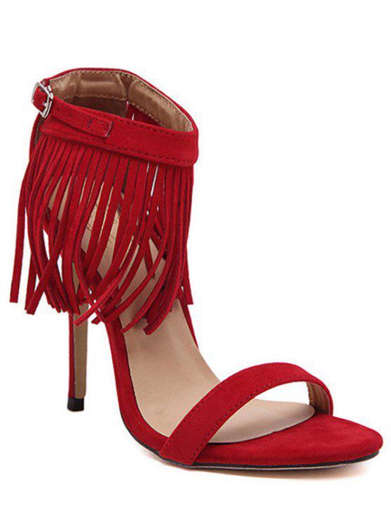 latest Solid Color Fringe Stiletto Heel Sandals - RED 38