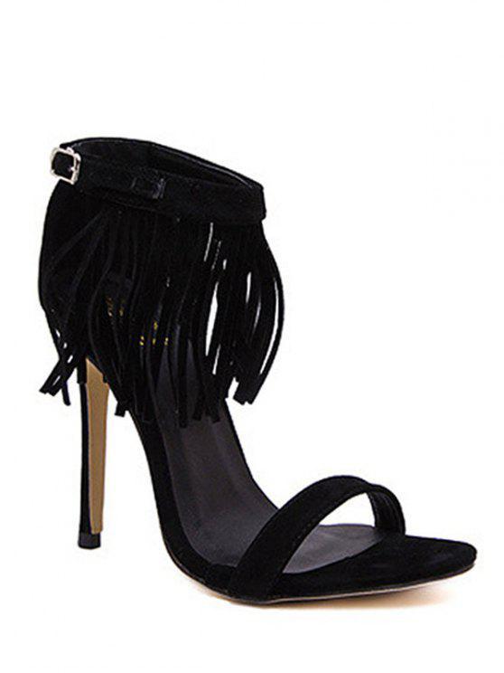 outfit Solid Color Fringe Stiletto Heel Sandals - BLACK 40