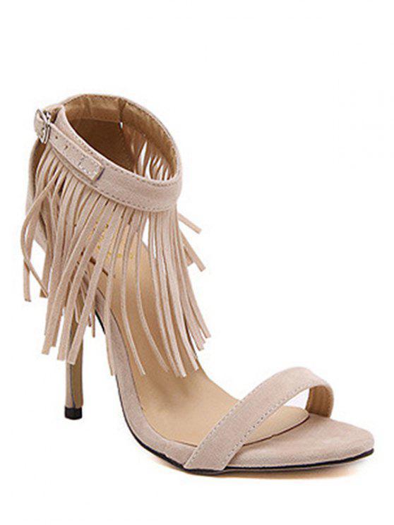 ladies Solid Color Fringe Stiletto Heel Sandals - APRICOT 40