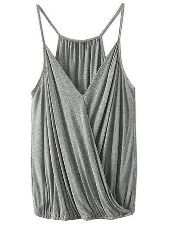 online Crossover Draped Cami Tank Top - GRAY XL