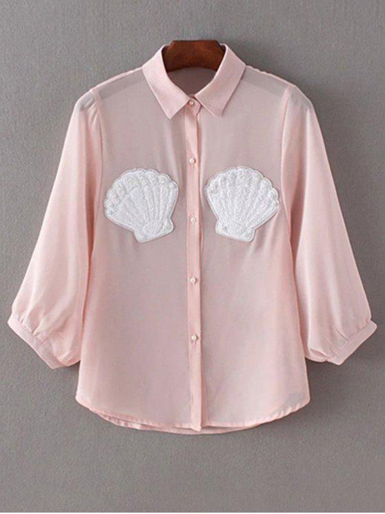 unique Faux Pearl Button Chiffon Shirt - PINK S