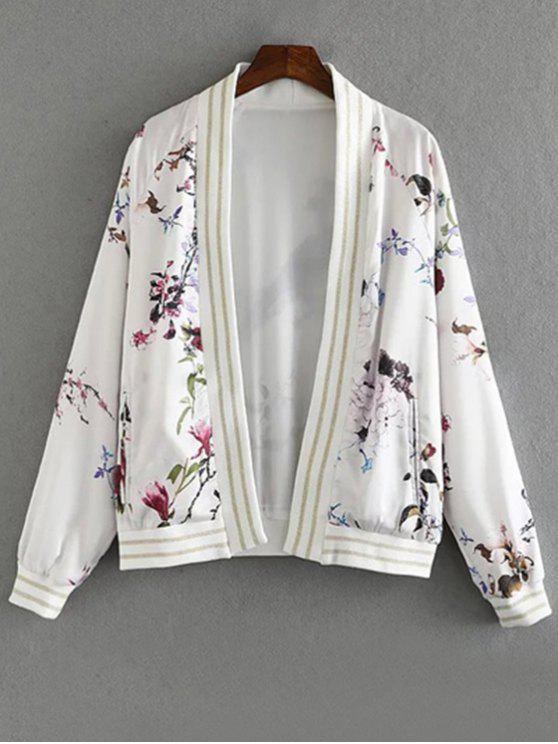 Floral Print stand Collar manches longues Veste - Blanc L