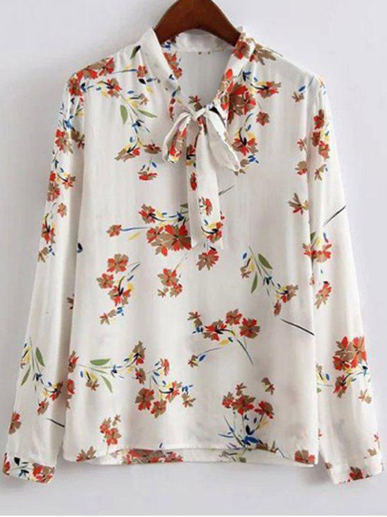 trendy Bow Tie Collar Floral Print Long Sleeve Blouse - WHITE S