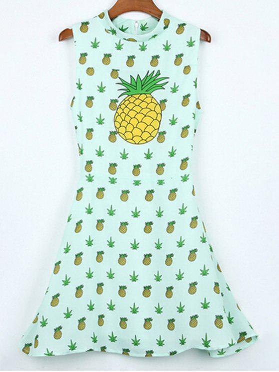 fashion Hawaiian Pineapples Print Stand Neck Sleeveless Dress - LIGHT GREEN XL
