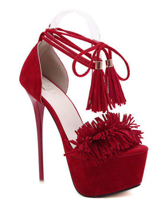fancy Fringe Platform Lace-Up Sandals - RED 36