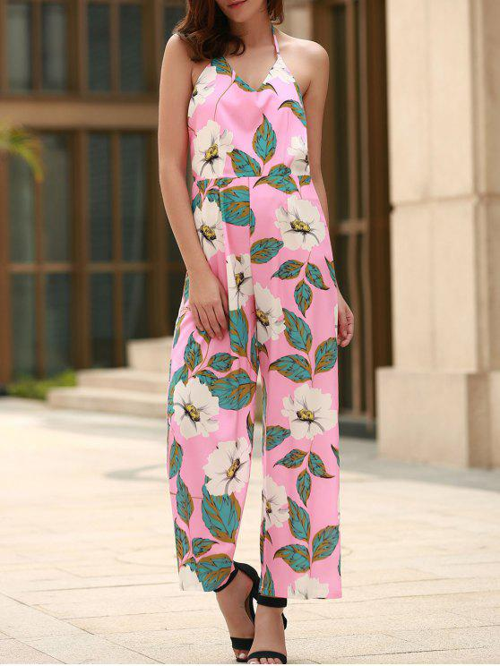 598837b9ab02 29% OFF] 2019 Floral Print Halter Backless Jumpsuit In PINK | ZAFUL