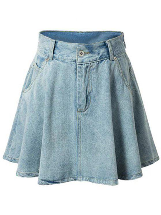 High-Waisted A-Line Denim Skirt LIGHT BLUE: Skirts L | ZAFUL