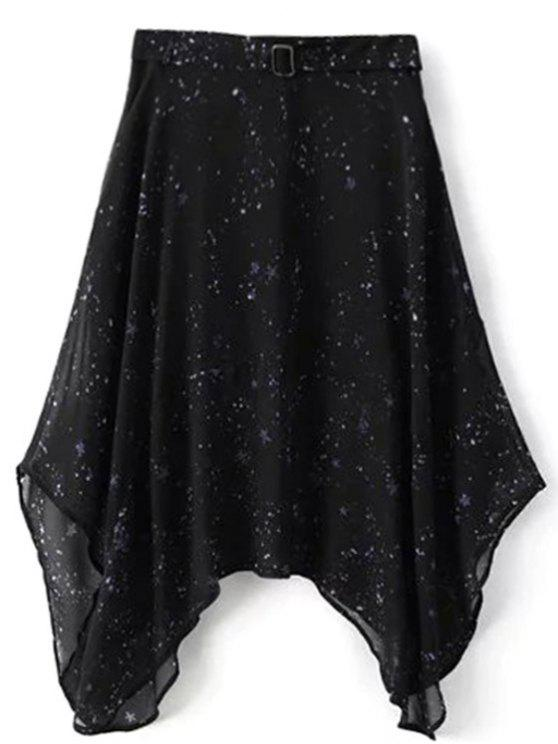 Kleid aus Chiffon mit Galaxie Muster und Spaghetti-Bügel - Schwarz M
