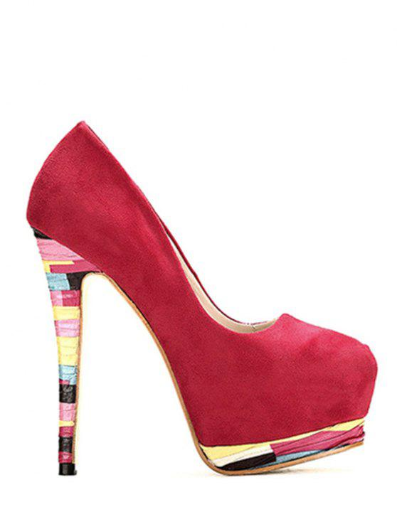 Heel Colorful Pompes platfom Flock - Rouge 39