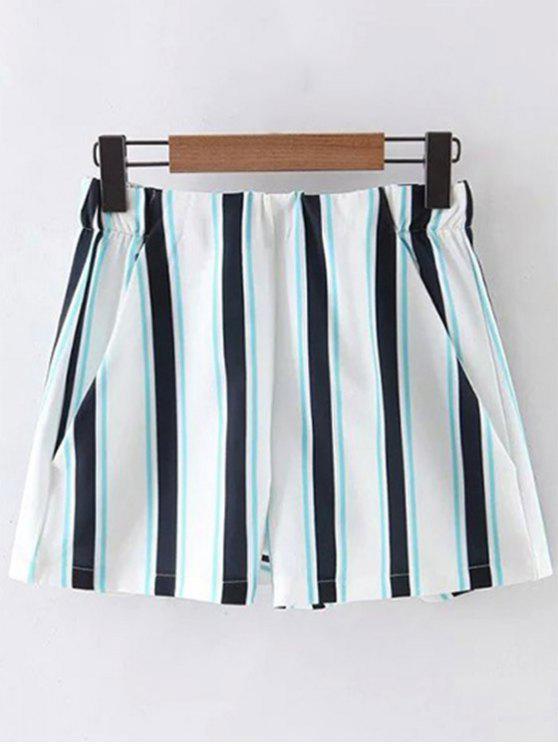 Rayas pantalones cortos de cintura alta - Azul L