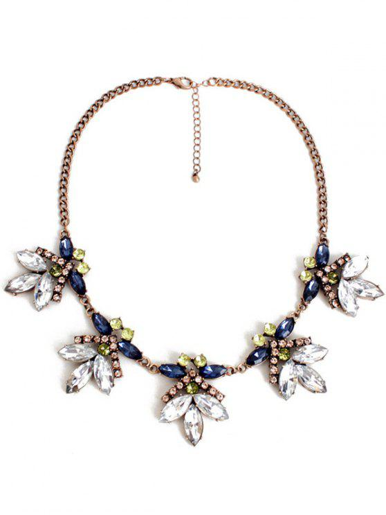 outfits Floral Faux Crystal Necklace - COPPER COLOR