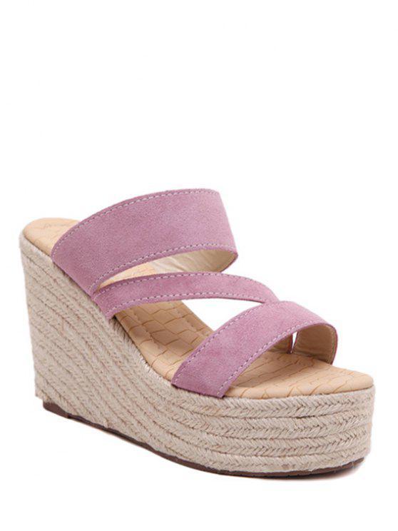 shops Weaving Platform Wedge Heel Slippers - PINK 39