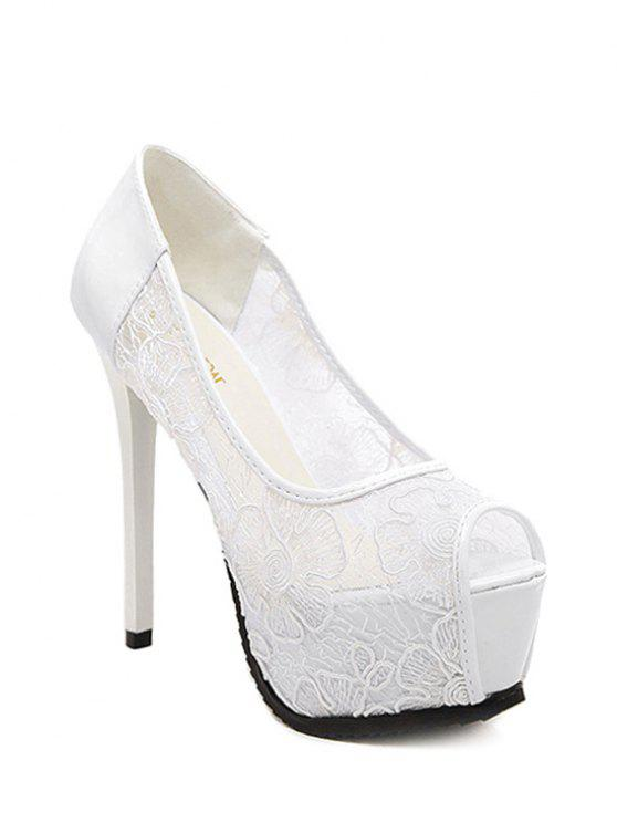 womens Lace Platform Stiletto Heel Peep Toe Shoes - WHITE 34