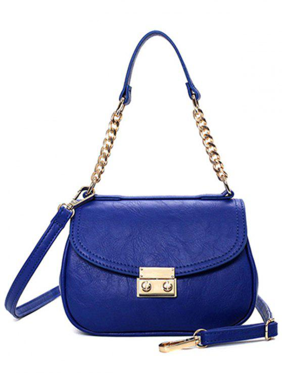 latest Metal Chains Solid Color Shoulder Bag - BLUE