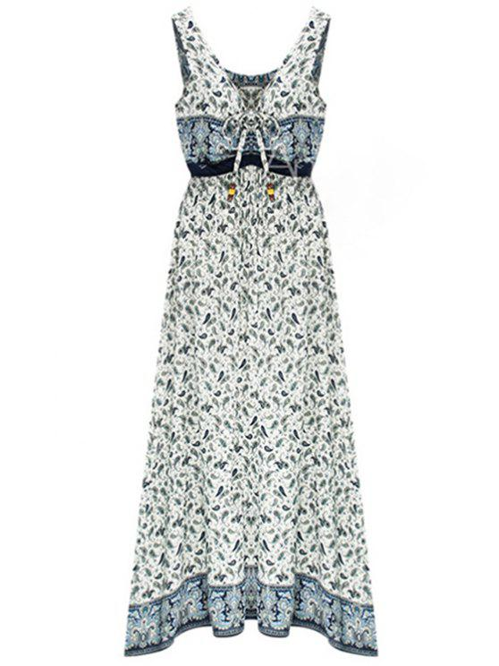 outfit Paisley Print Draped Midi Dress - LIGHT BLUE L