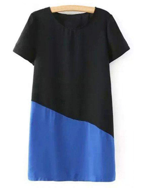 latest Color Block Short Sleeve Round Collar T-Shirt Dress - BLUE L
