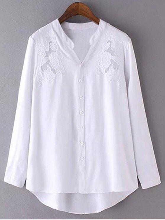 Bordado soporte de la camisa de cuello de manga larga - Blanco L