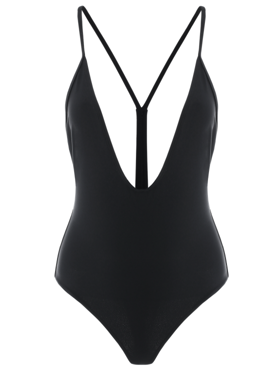 womens Racer Back Cami One-Piece Swimwear - BLACK M