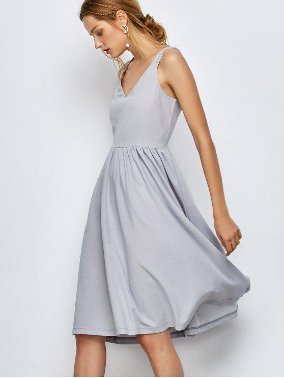 hot Knee Length A Line Dress - GRAY L