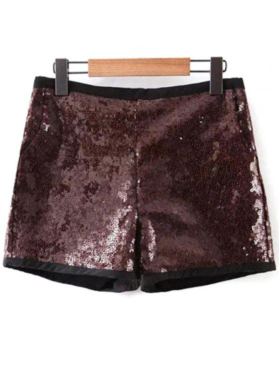 trendy Back Zipper Sequins Shorts - DEEP BROWN M