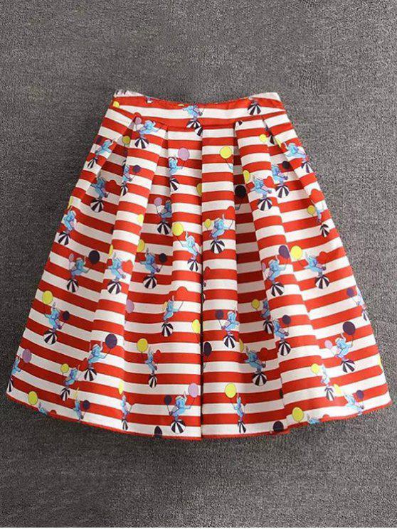 new Cartoon Print Striped Ball Gown Skirt - RED M
