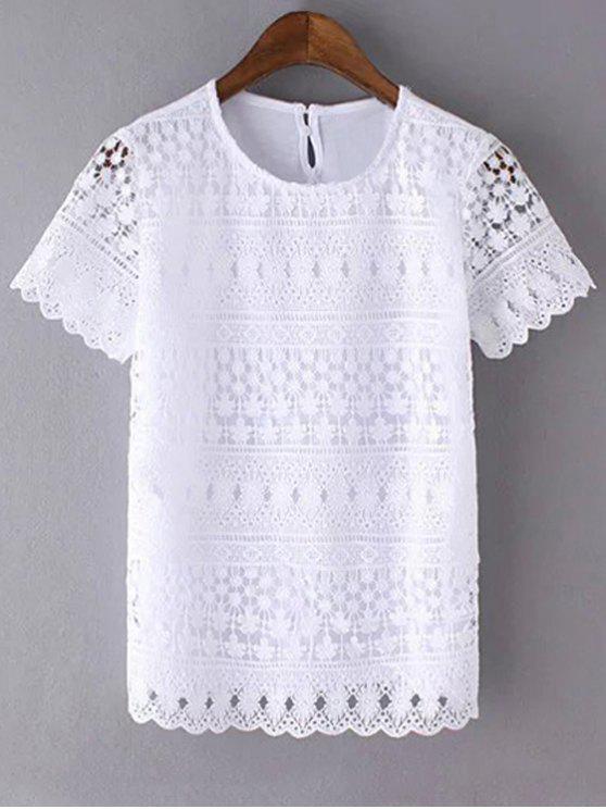 fashion Openwork Round Neck Short Sleeve Lace T-Shirt - WHITE S