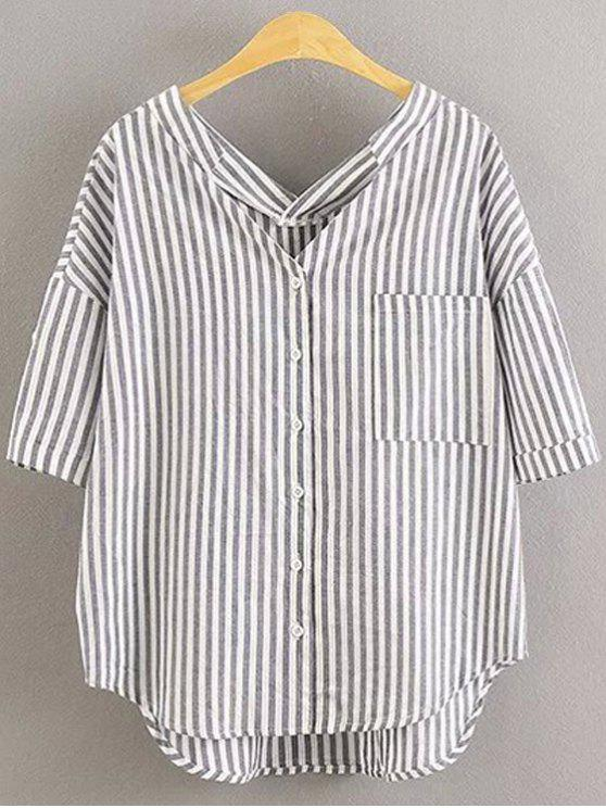 women Preppy Style Striped Dropped Sleeve Shirt - GRAY S