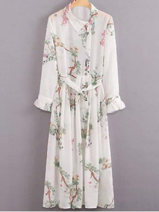 trendy Flroal Print Ruffle Sleeve White Dress - WHITE S