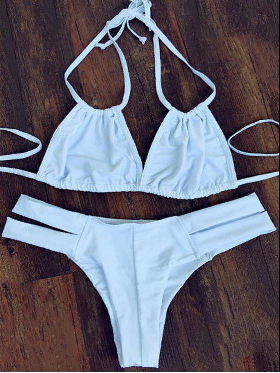 chic Halterneck White Bikini Set - WHITE S