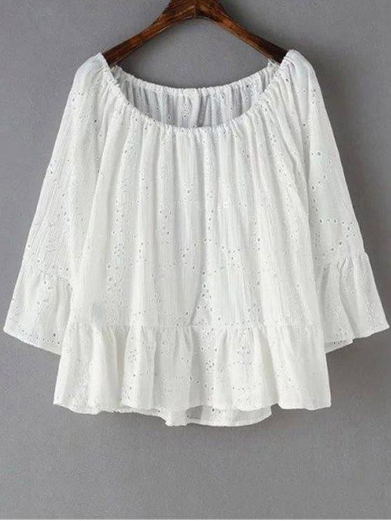 Bordado con cuello redondo volante de empalmado de la camiseta - Blanco M