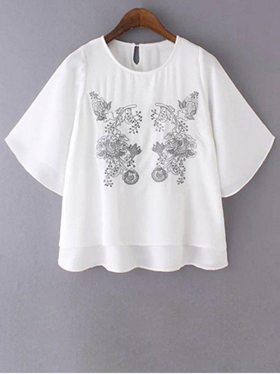 online Loose Embroidered Round Neck Bat-Wing Sleeve T-Shirt - WHITE S