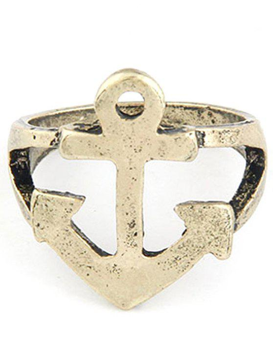 ladies Hollow Out Boat Anchor Shape Ring - GOLDEN ONE-SIZE