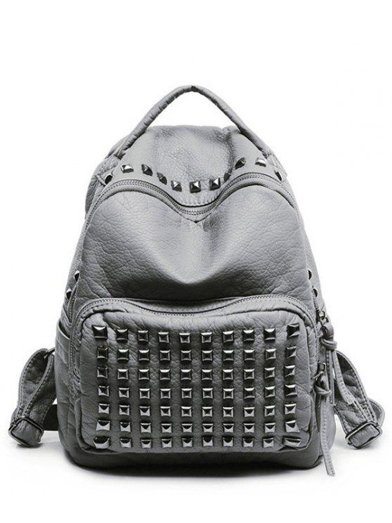 ladies Rivet Solid Color PU Leather Satchel - LIGHT GRAY
