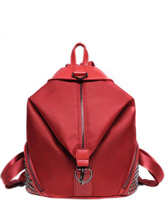 women Solid Color Splicing Rivet Satchel - RED