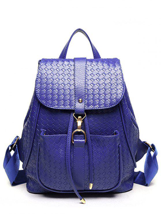 unique Weaving Solid Color PU Leather Satchel - BLUE