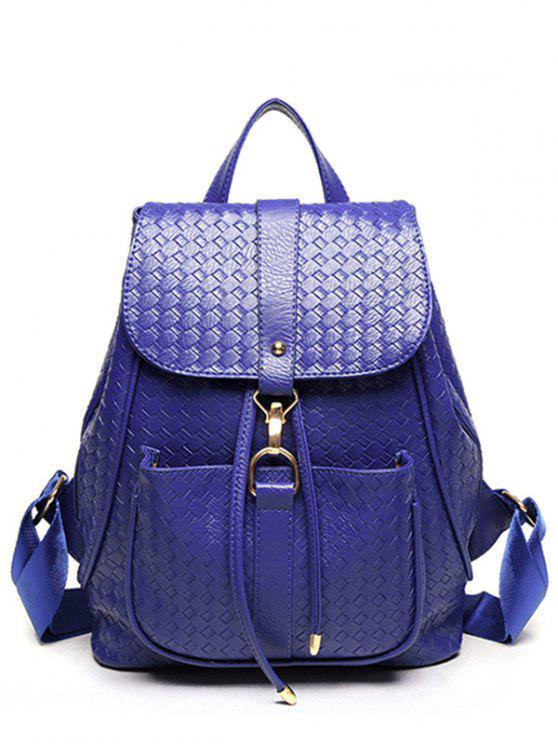 Tejiendo Sólido Cuero Color PU Satchel - Azul