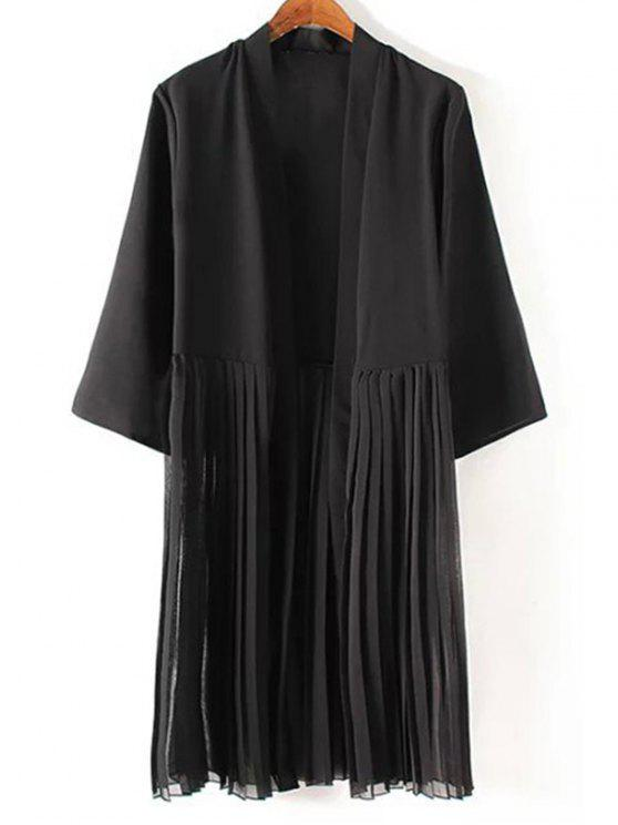 chic Tassels Spliced 3/4 Sleeve Black Coat - BLACK M