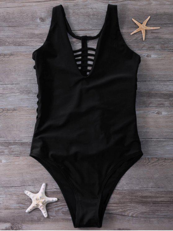 sale Strappy One-Piece Swimwear - BLACK L