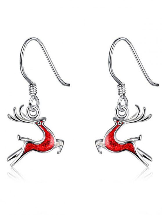 affordable Christmas Elk Enamel Drop Earrings - RED