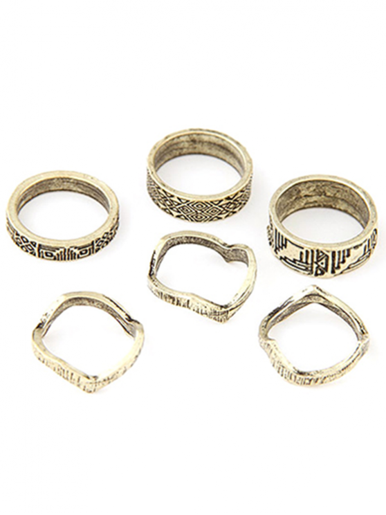 outfits Tribal Style Carve Golden Rings - GOLDEN ONE-SIZE
