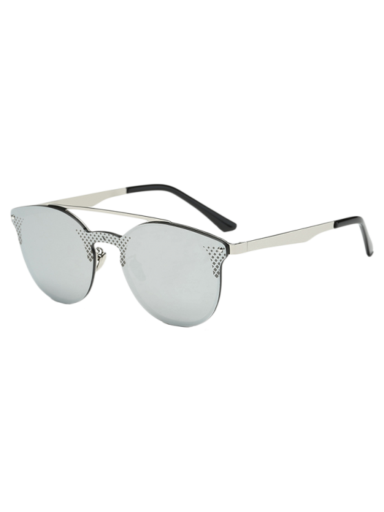 affordable Rhombus Pattern Mirrored Butterfly Sunglasses - SILVER