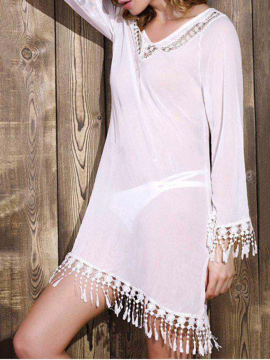 Vestido Trasparente de Gasa con Manga Larga con Cuello en V con Detalle Escotado - Blanco XL