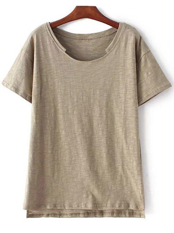 fancy Short Sleeve High Low Hem Round Neck T-Shirt - ARMY GREEN M
