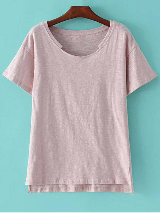 fashion Short Sleeve High Low Hem Round Neck T-Shirt - PINK M