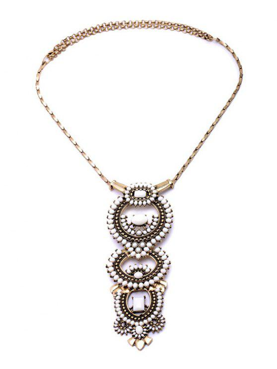 women's Vintage Bead Decorated Necklace - GOLDEN
