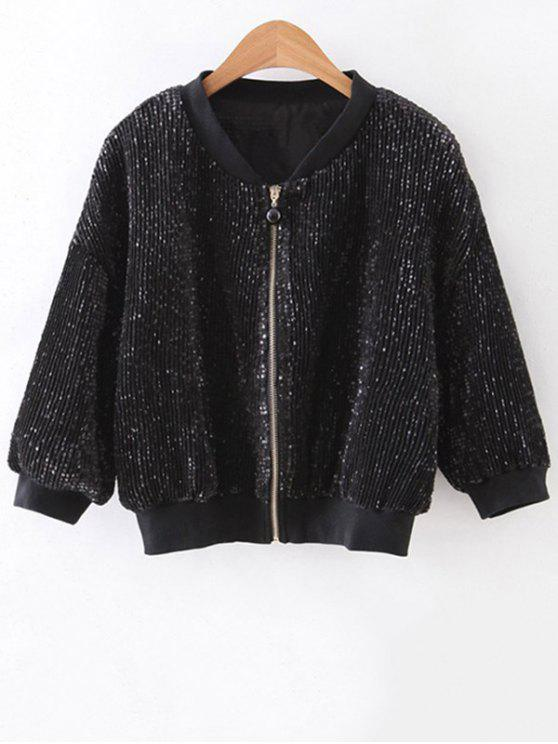 buy Solid Color Sequined Stand Neck 3/4 Sleeve Jacket - BLACK M
