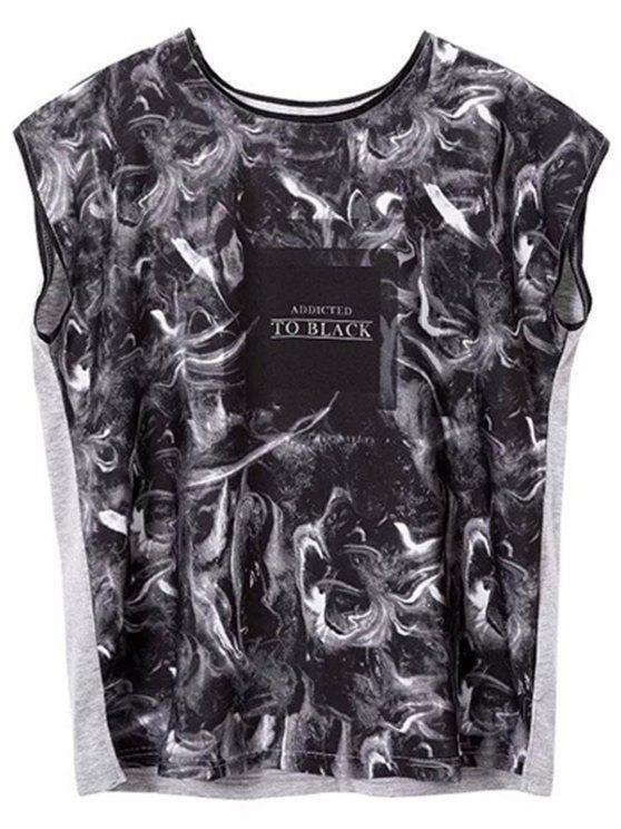 online Printed Round Collar Side Slit T-Shirt - BLACK GREY S