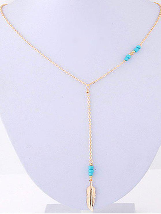 Hoja de oro collar pendiente del grano - Dorado